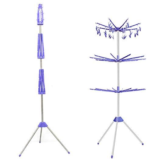 """Varal giratório de chão dobrável, de aço inox e polipropileno, com 3 módulos que possuem 10 hastes cada, e medidas totais de 1,85 x 0,73 x 0,73 m. <a href=""""https://www.shoptime.com.br/produto/28506626/varal-giratorio-de-chao-dobravel-desmontavel-aco-inox"""" target=""""_blank"""" rel=""""noopener"""">Shoptime</a>, R$ 99,99"""