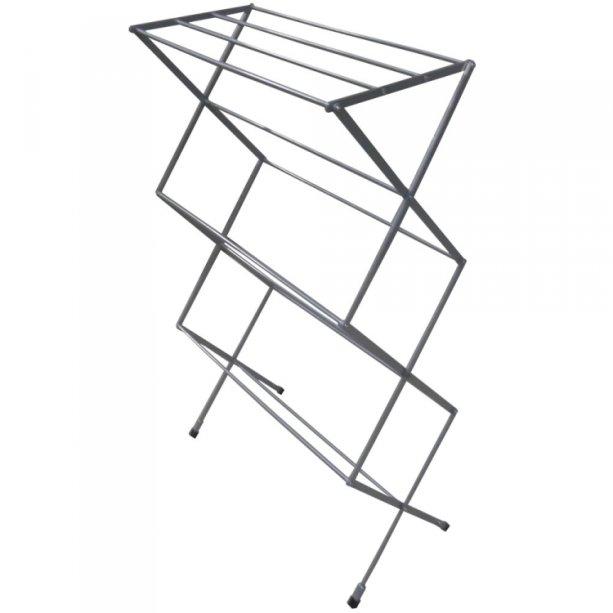 """Varal de chao Sanfonado Vertical, dobrável, de alumínio pintado ou escovado, com 11 varetas e 1,12 m de altura. <a href=""""https://varaisonline.com.br/produto/159/varal-sanfonado-de-chao-vertical.html"""" target=""""_blank"""" rel=""""noopener"""">Varais Online</a>, R$ 190"""