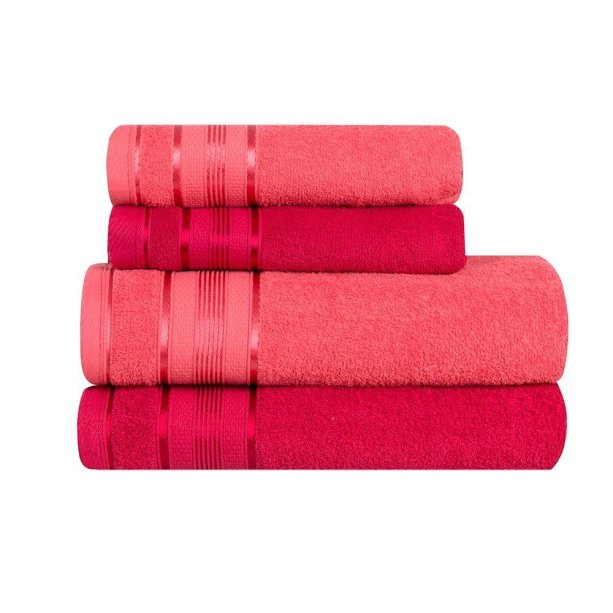 """Jogo de banho Santista, quatro peças, coral e pink. <a href=""""https://www.extra.com.br/camamesabanho/toalhasdebanho/4pecas/jogo-de-banho-4-pecas-santista-royal-knut-100-algodao-2-cores-12045263.html"""" target=""""_blank"""" rel=""""noopener"""">Extra</a>, R$ 59,90"""