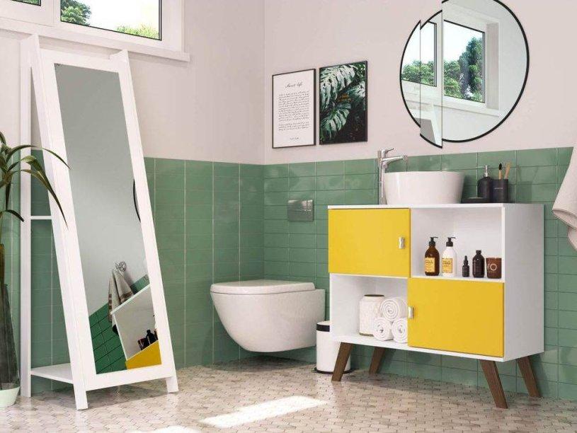 """Gabinete e espelho de chão, da Siena Móveis, de MDF, armário com medidas de 95 x 37 x 86 cm. <a href=""""https://www.americanas.com.br/produto/72098005/banheiro-com-gabinete-e-espelho-de-chao-siena-moveis-branco-amarelo?pfm_carac=gabinetes%20para%20banheiros%20de%20vidro&pfm_index=0&pfm_page=search&pfm_pos=grid&pfm_type=search_page%20&sellerId"""" target=""""_blank"""" rel=""""noopener"""">Americanas.com</a>, R$ 398,80"""