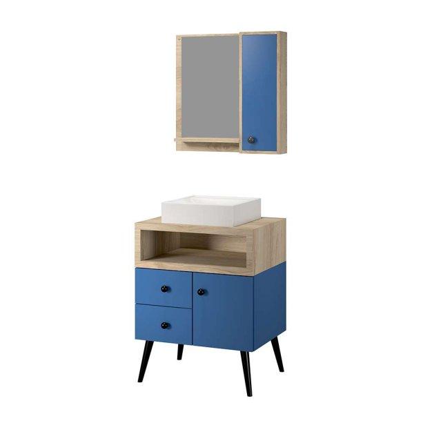 """Conjunto Turim, de gabinete com cuba de marmorite e espelheira, de MDF e MDP, nas dimensões 60x 45 x 78 cm (armário) e 60 x 12 x 60 cm (espelheira). <a href=""""https://www.woodprime.com.br/conjunto-retro-turim-60-cm-azul-wood-prime-tn-1130630/p"""" target=""""_blank"""" rel=""""noopener"""">Wood Prime</a>, R$ 1052,91"""