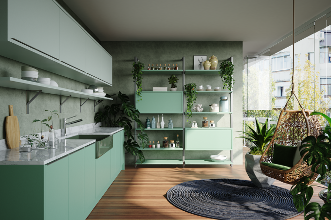 Varanda armários verde menta