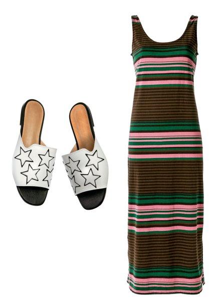 Vestido de algodão, <strong>Osklen</strong>, R$ 397, farfetch.com.br. Slides de couro, <strong>Vicenza</strong>, R$ 283.