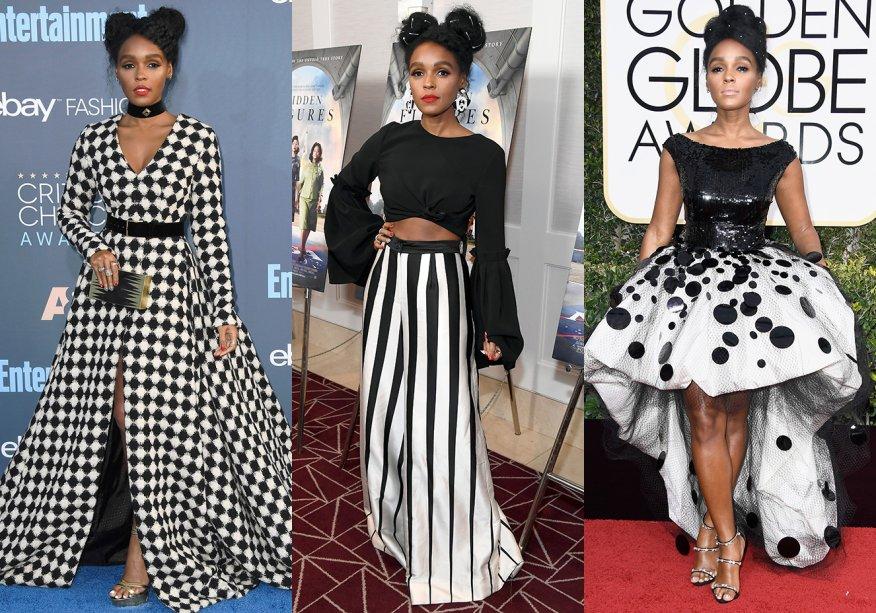 <strong>Janelle Monáe // P&B </strong>- em conjuntos de calça e blusa ou vestidos, eis a combinação de que a artistamais gosta.