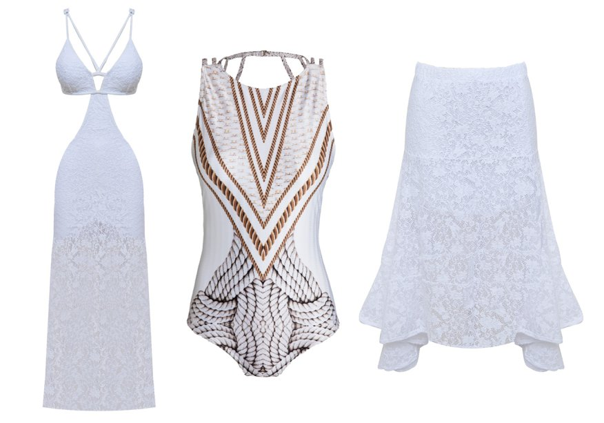 <strong>Cia Marítima</strong>. A coleção Celebrate é composta por bodies que vão da praia à festa, a exemplo do estampado (R$ 388), e roupas brancas, como a saia (R$ 388) e o vestido engana-mamãe (R$ 598).