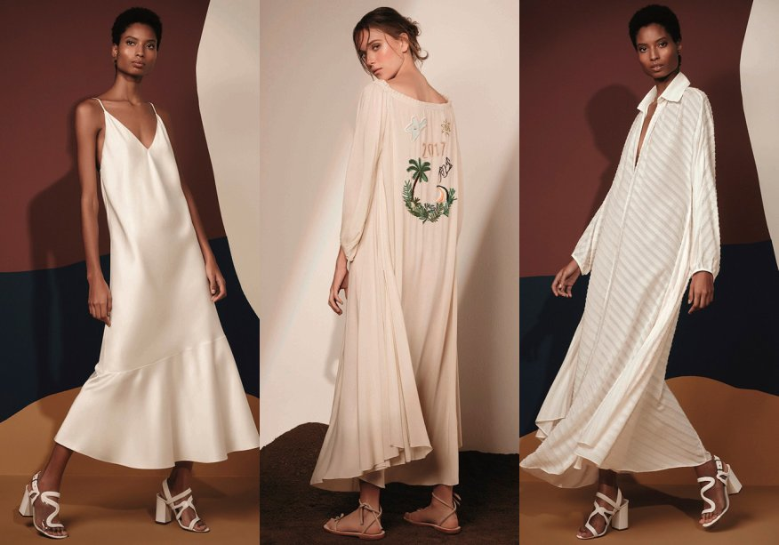 <strong>Cris Barros</strong>. Leves, as roupas aparecem em seda rústica, algodão, laise e linho, sendo completadas por detalhes em camadas de tecidos cortados a fio.