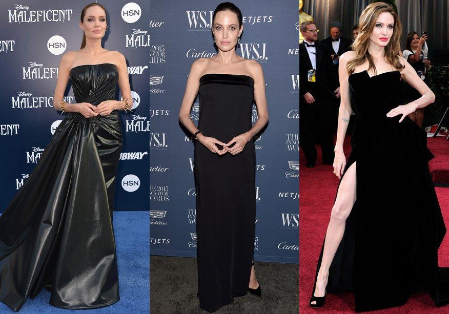 <strong>Angelina Jolie // tomara que caiapreto </strong>- dos modelos <em>minimal</em>aos com fendas poderosas, o que vale é ser preto.