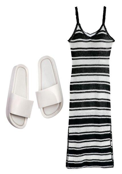 Vestido de tricô, <strong>Bo.Bô</strong>, R$ 1 998. Slides de plástico, <strong>Melissa</strong>, R$ 100.