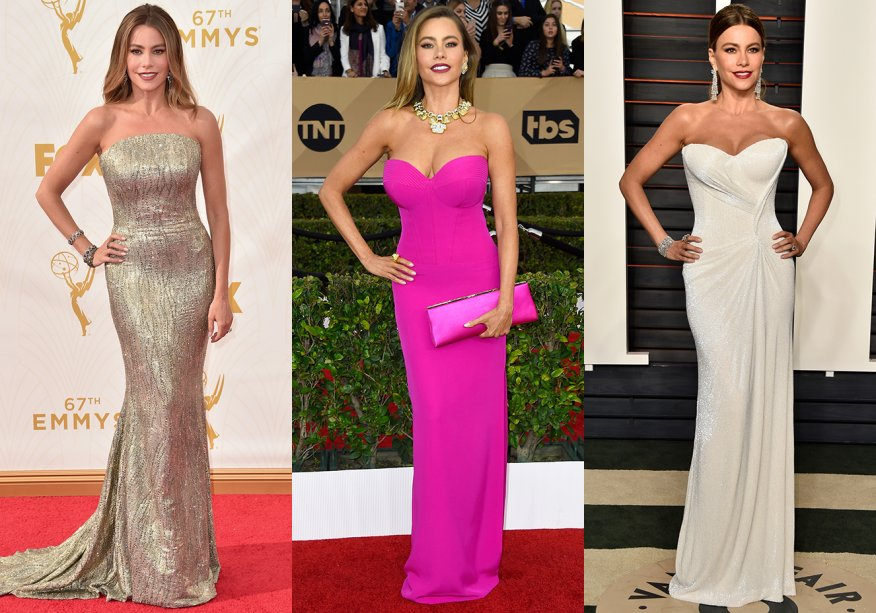 <strong>Sofia Vergara //tomara que caiajusto </strong>- sempre sexy, a colombiana não dispensa roupas que desenham sua silhueta.
