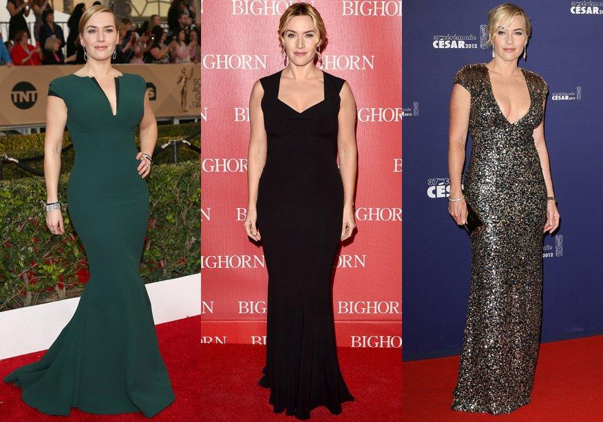 <strong>Kate Winslet // decote em V </strong>- perfeito para dar a impressão de uma silhueta alongada, o visualé marcante no estilo da atriz.