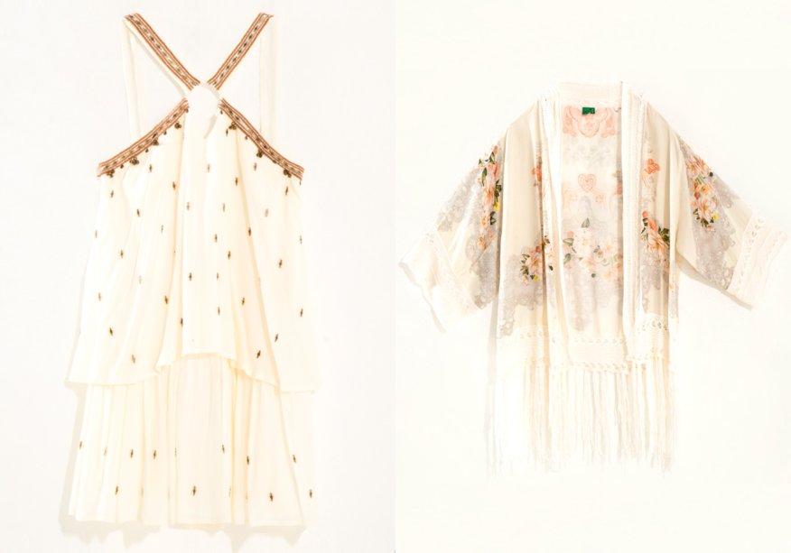 <strong>Farm</strong>. O quimono de crochê (R$ 498) e o vestido bordado (R$ 519) são os carros chefe da coleção de Réveillon da etiqueta carioca.