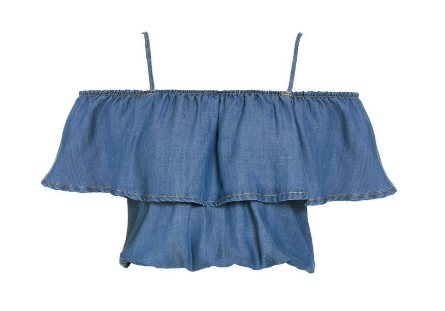 Top jeans, <strong>Gatabakana</strong>, R$ 187