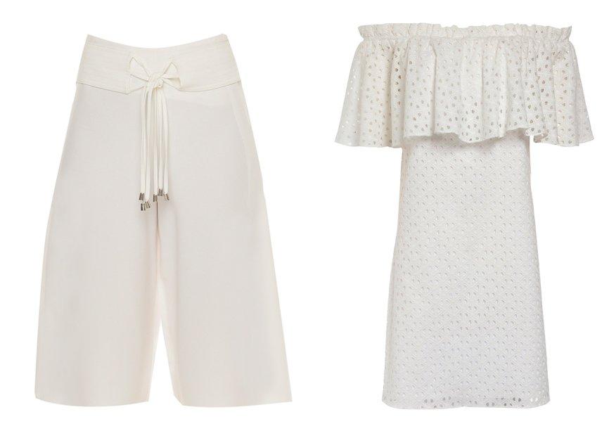 <strong>Le Lis Blanc</strong>. A pantacourt e o vestido com decote ombro a ombro, duas peças-chave do guarda-roupa fashionista atual, se sobressaem na coleção. Ambas as peças custam R$ 799,90.
