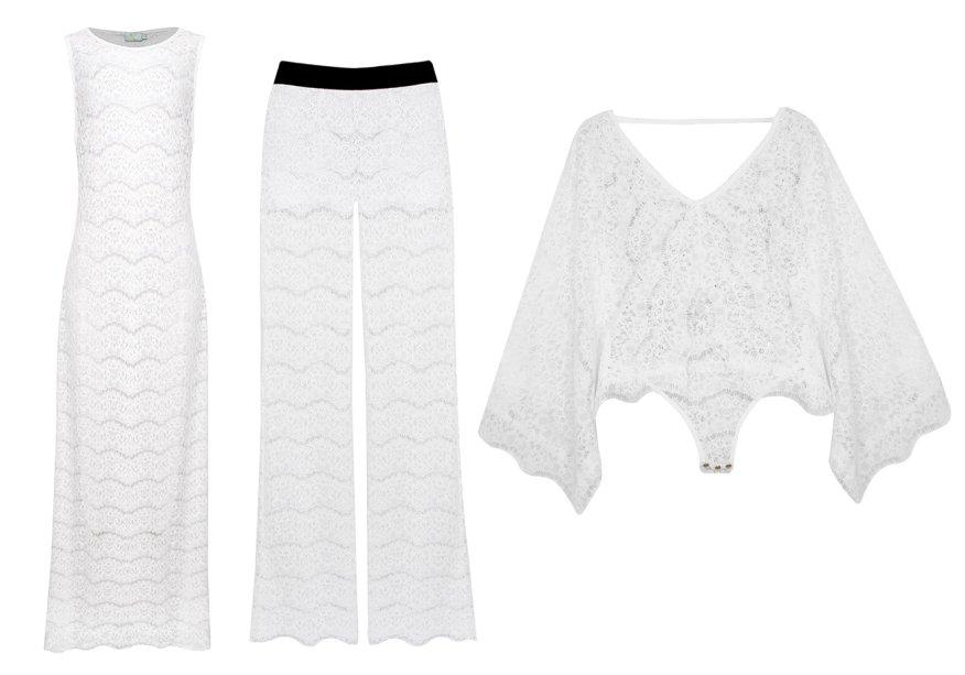 <strong>MOS Beachwear</strong>. Composta por 13 peças, a coleção de Réveillon é inspirada nas profundezas do oceano. Enquanto os biquínis vêm com bordados e aplicações, as roupas brancas aparecem em renda.