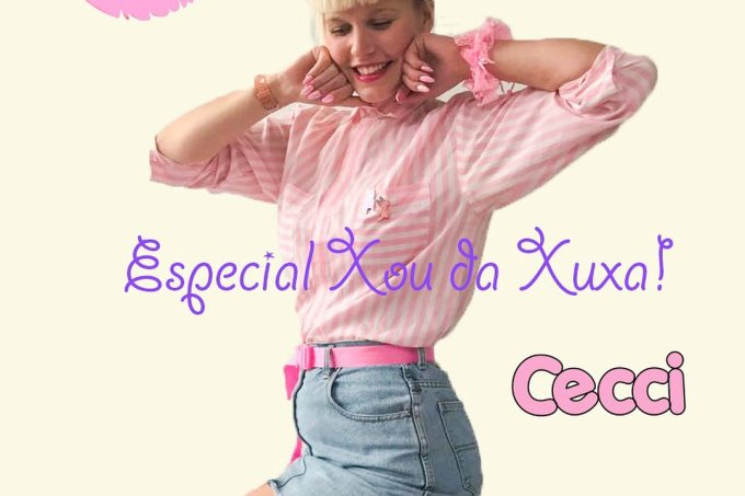 Cécile Loreen, a sósia holandesa da Xuxa, reproduzindo uma das capas de seus discos
