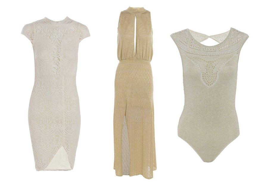 <strong>Rosa Chá</strong>. O espírito jovem e praiano aparece em body (R$ 399,90) e vestido de tricô (R$ 699,90). Para quem gosta de modelos ajustados ao corpo, a versão de renda (R$ 339,90) é uma opção.
