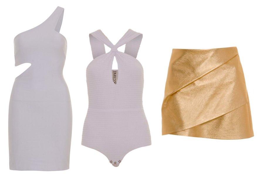 <strong>Tigresse</strong>. Bodies e saias em versão metalizada são os protagonistas da coleção especial, que também conta, claro, com vestidos brancos - tudo bem justinho.