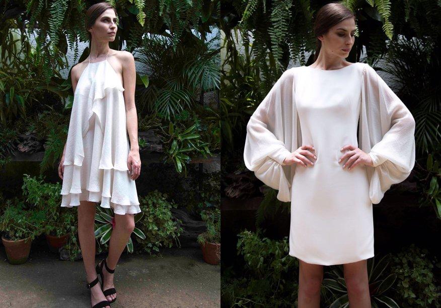 <strong>Trinitá</strong>. A linha que conta com sete vestidos em off white. Recortes estratégicos, decotes e fendas deixam os modelos de pegada minimalista mais interessantes.