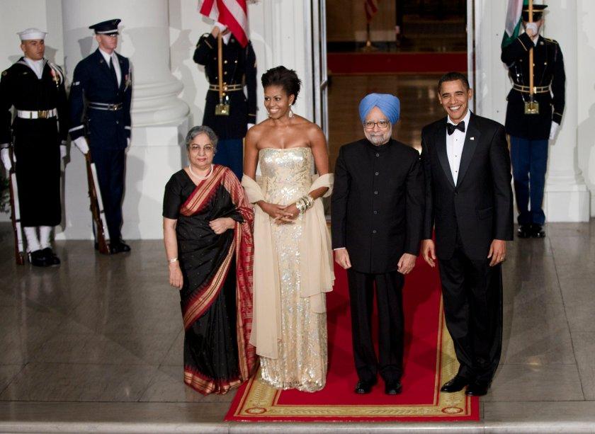 Vestido: Naeem Khan // Evento: Jantar para o primeiro-ministro indiano // Data: 24.11.09