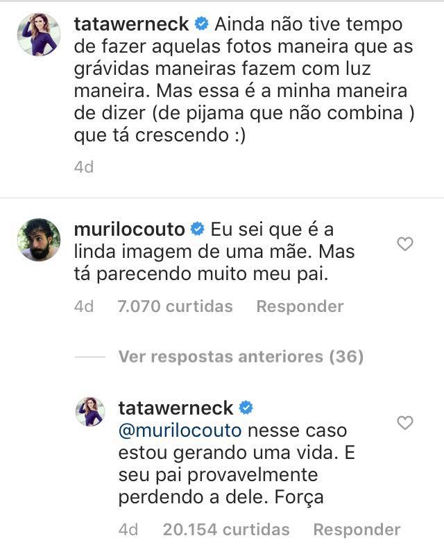 Comentários de Tatá Werneck e Murilo Couto em publicação dela no Instagram.