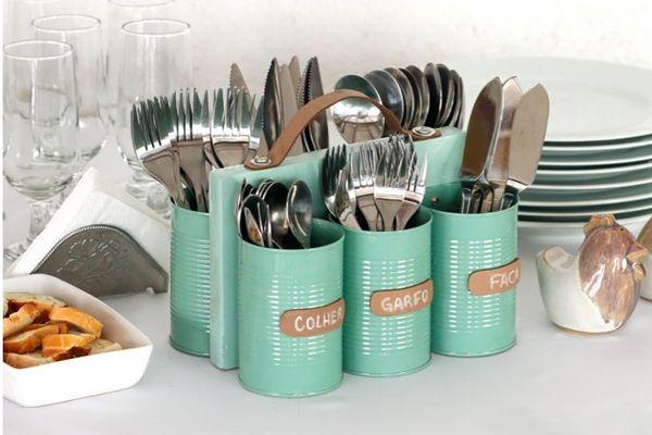 Organizador reciclagem lata