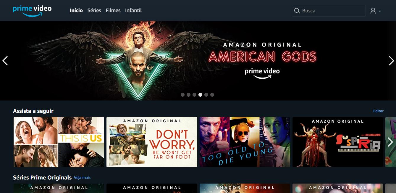 Interface da Amazon Prime Video
