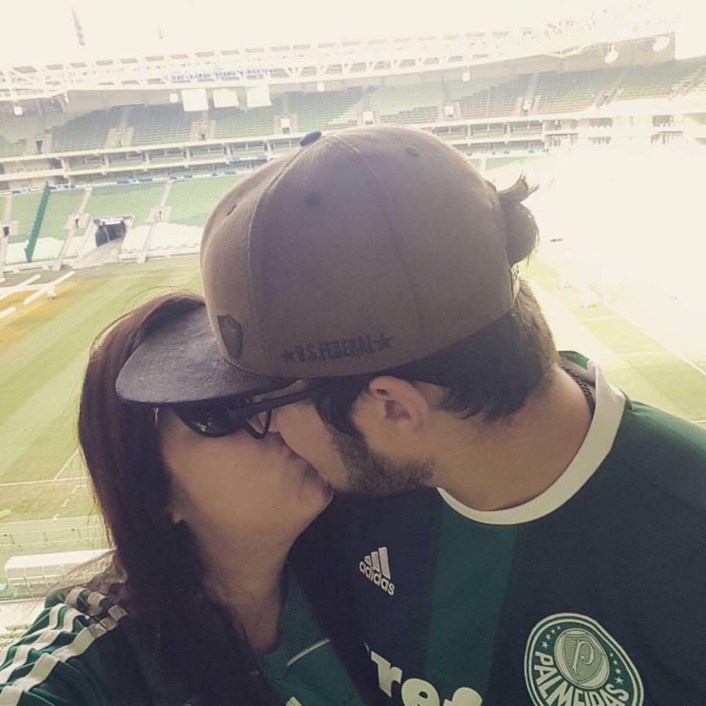 Natalia e Danilo, no estádio do Palmeiras