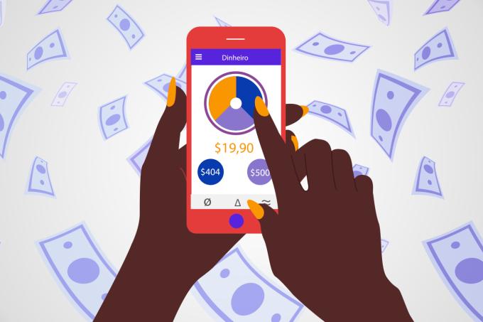 Mulher mexendo em aplicativo de finanças pessoais
