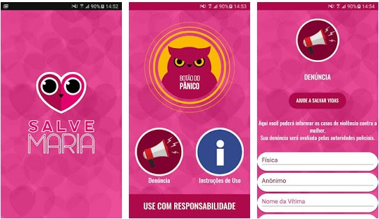 Apps violência doméstica Salve Maria