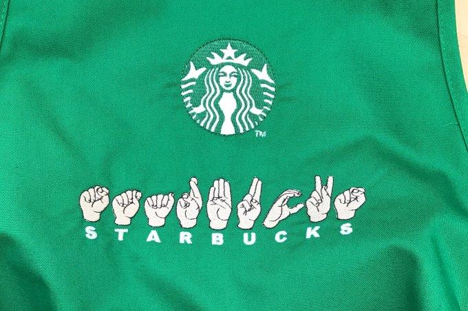 Avental da loja do Starbucks destinada a surdos