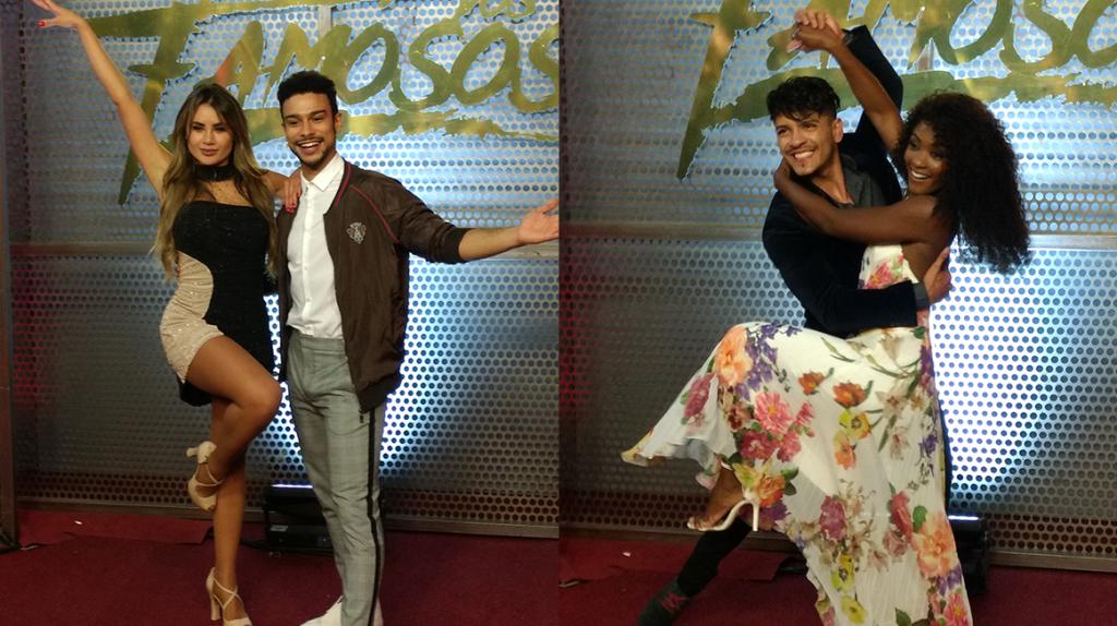 Sérgio Malheiros e Erika Januza, nos bastidores do Dança dos Famosos 2018