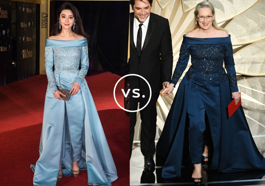 <strong>Fan Bingbing</strong> e<strong> Meryl Streep</strong> vestem<strong>Elie Saab Couture</strong>.O macacão com cauda longa foi a escolha das atrizes para deixar o vestido longo de lado e atualizar o visual de gala. Sempre romântica, a chinesa preferiu a versão azul-clara do modelo de alta-costura. Já a norte-americana, com seu estilo mais maduro, preferiu o marinho. Brincos de tamanho médio e peep toes arremataram as duasproduções.