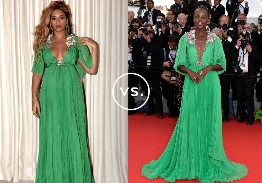 <strong>Beyoncé</strong> e <strong>Lupita Nyong'o</strong> vestem<strong> Gucci</strong>.A mamãe de gêmeos elegeu o vestido vibrante para uma première do filme <em>A Bela e a Fera</em> - quase uma mulher comum, não é mesmo? - e elevou a potência sexy do modelo com cabelos soltos e maxibrincos. Já Lupita desfilou o longo com bordados nos ombros e na cintura durante o Festival de Cinema de Cannes. Fashionista, a atriz apostou em batom metalizado e coque volumoso para arrematar.