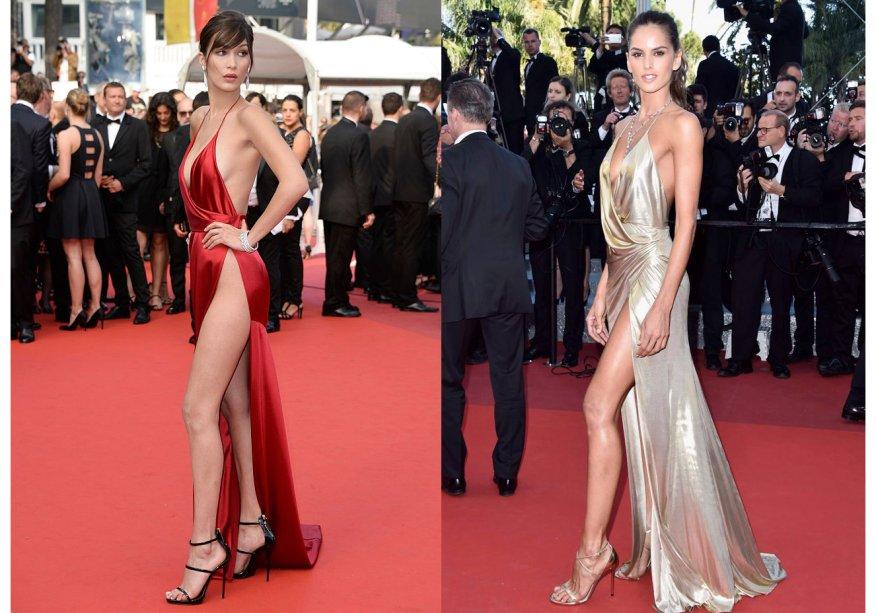 <strong>Bella Hadid</strong> e <strong>Izabel Goulart</strong>vestem<strong>Alexandre Vauthier.</strong>As lindas escolheram o mesmo vestido, porém de cores diferentes, ebrilharam no tapete vermelho de Cannes com suas fendas super sexy.