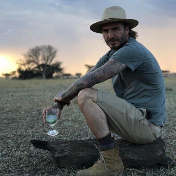 David Beckham, durante uma safari trip na Tanzânia.
