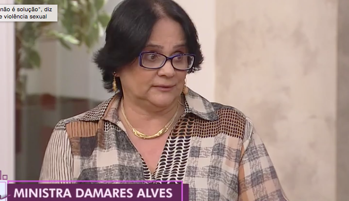 Ministra Damares Alves no programa da Rede Tv