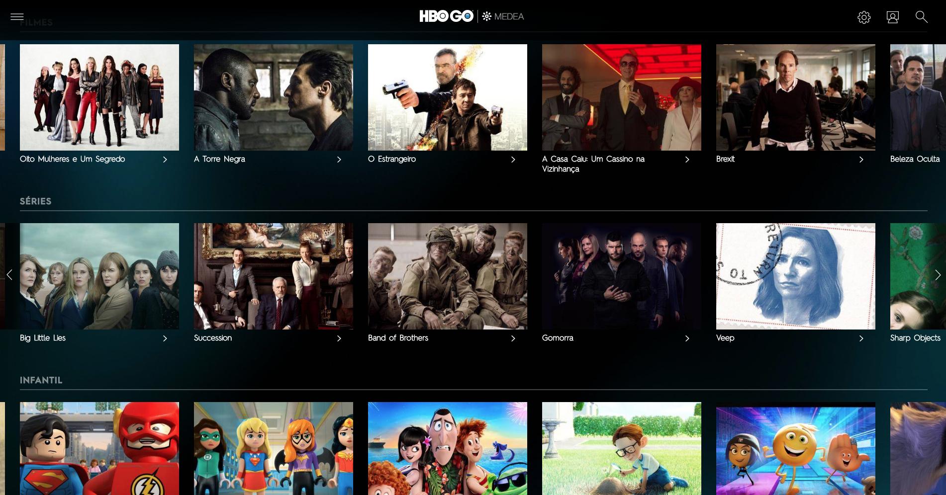Interface da HBO GO