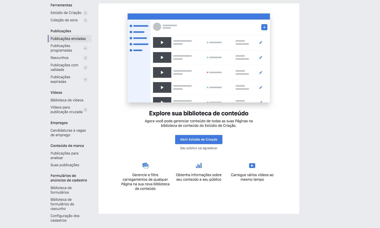 """Interface do Facebook antes de acessar o """"Estúdio de Criação""""."""