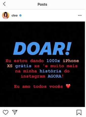 Instagram de Cleo hackeado