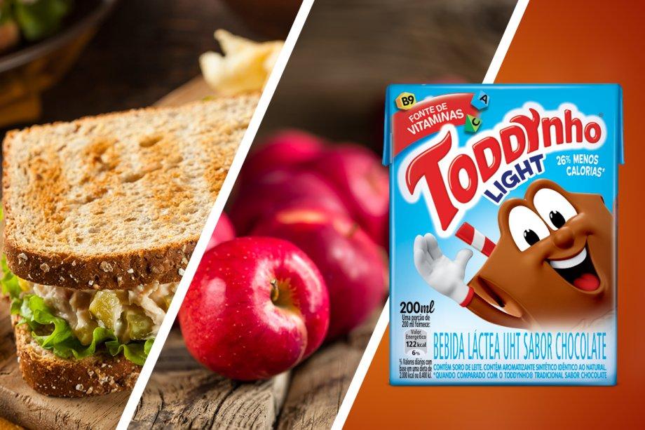 Sanduíche de pão integral de atum com pasta de ricota (grupos 1 e 3) + maçã (grupo 2) + achocolatado Toddynho Light (grupo 4)