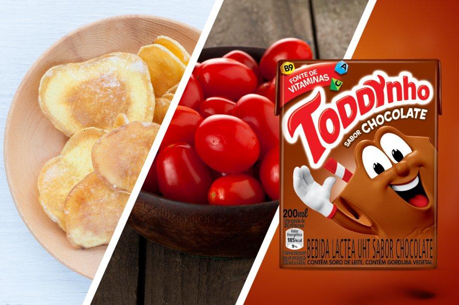 Chips caseiros assados de batata doce (grupo 1) + tomates grape com gergelim (grupos 2 e 3) + achocolatado Toddynho Chocolate (grupos 4)