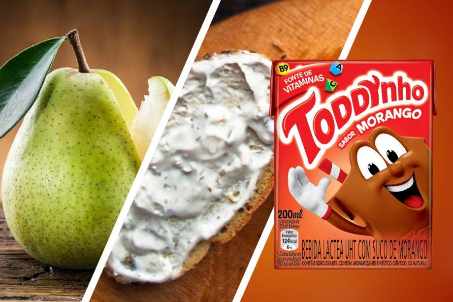 Pêra (grupo 2) + pãozinho com requeijão (grupos 1 e 4) + achocolatado Toddynho Morango (grupos 4)