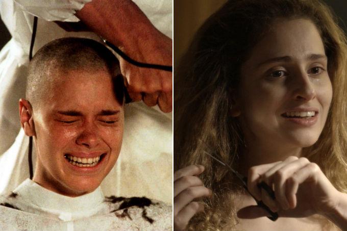 carol dieckmann e carol duarte cortando cabelos