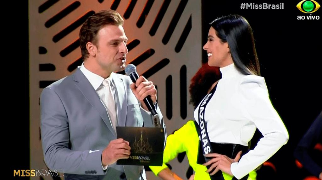 Cassio Reis e a Miss Amazonas no Miss Brasil 2018