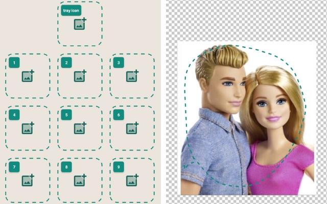 "Prints do programa ""Sticker Maker"""