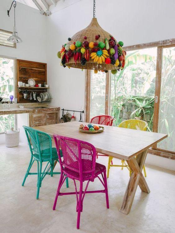 colocar cor em detalhes da decoração da sua casa - sala de jantar