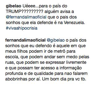Comentário de Fernanda Lima