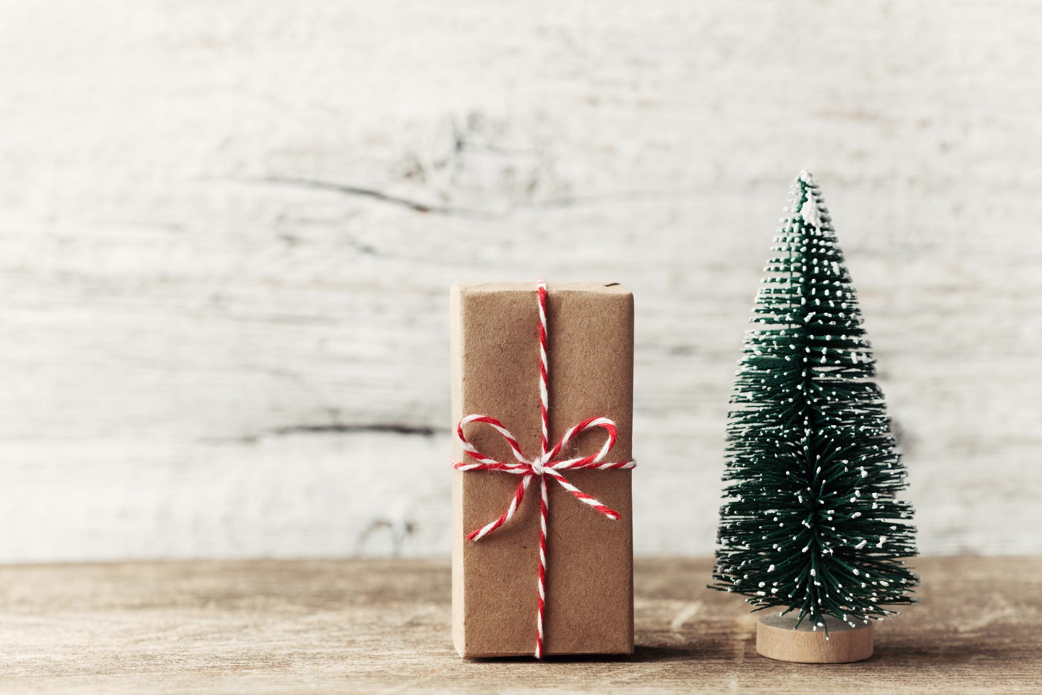 Árvore de Natal em miniatura ao lado de pacote de presente