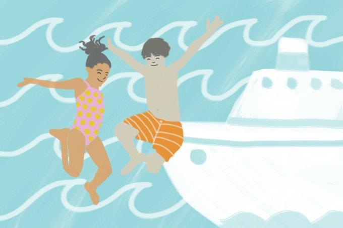 Ilustra de crianças e navio