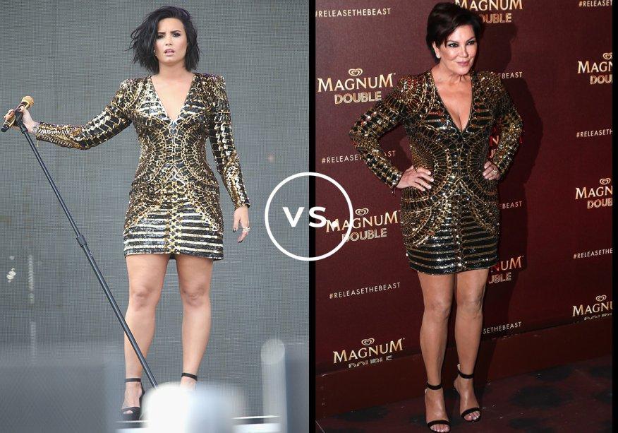 <strong>Demi Lovato</strong> e<strong> Kris Jenner</strong>vestem <strong>Balmain</strong>. O vestido preto e dourado da grife francesa, de quase 6 mil dólares, deixa a silhueta em evidência por causa do shape justinho. Enquanto a cantora desfilou o seu durante show na Califórnia, a matriarca do clã Kardashian-Jenner exibiu o modelo em Cannes.